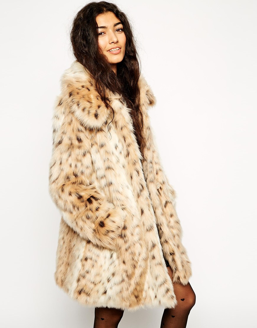 4b7642b44a6a ASOS Faux Fur Leopard Print Coat - Lyst