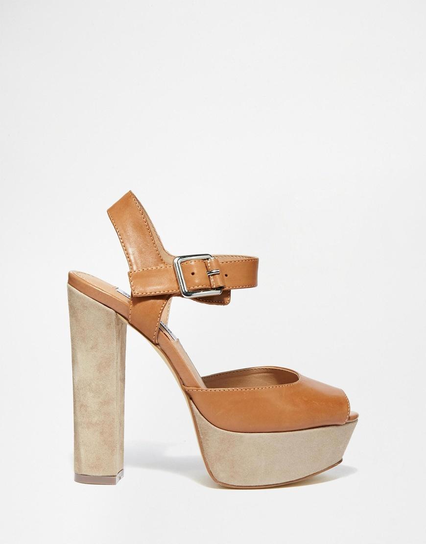 Buy Women Shoes / Steve Madden Jillyy Tan Platform Heeled Sandals
