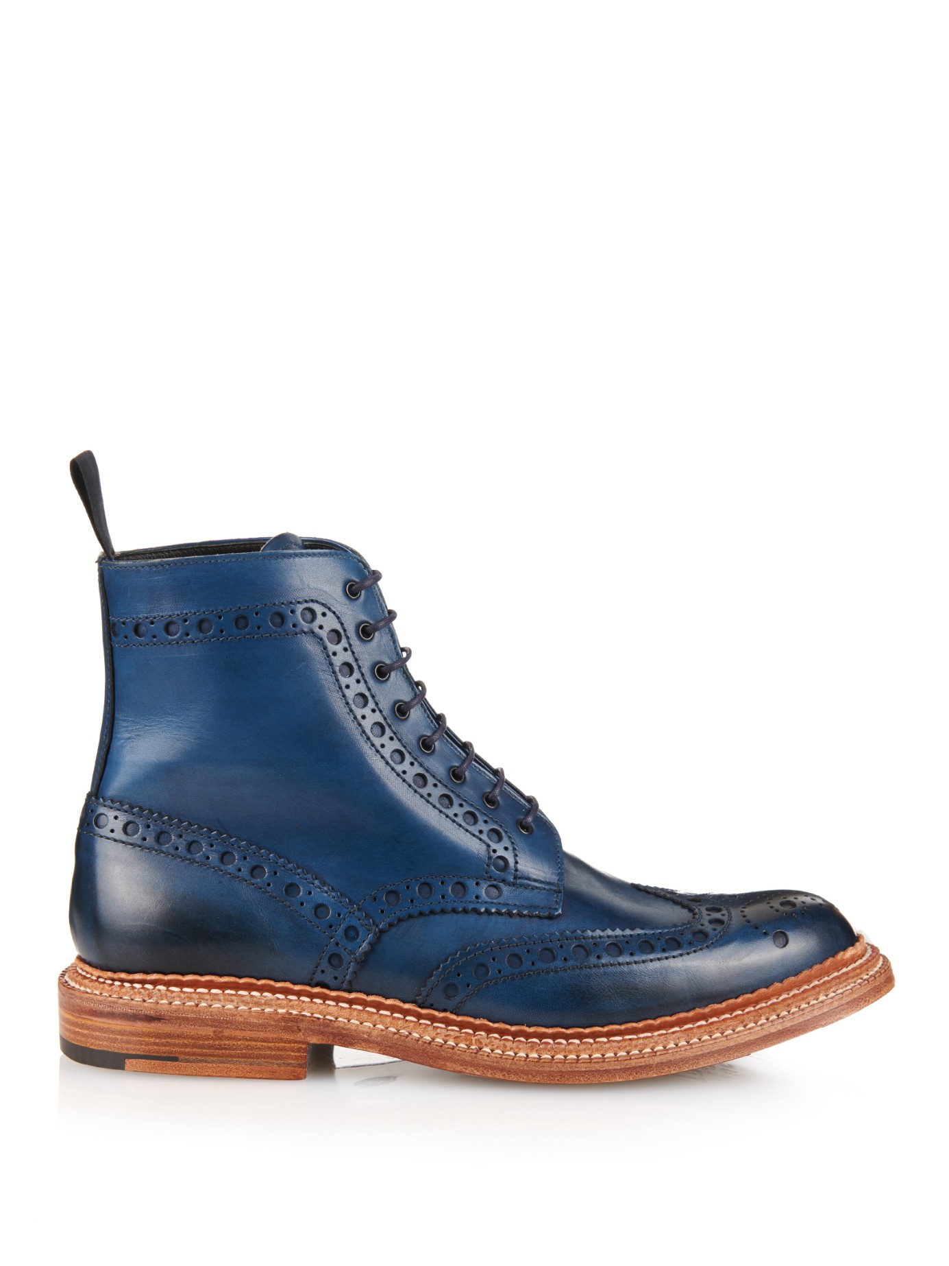 Foot The Coacher Fred Leather Brogue Boots In Blue For Men