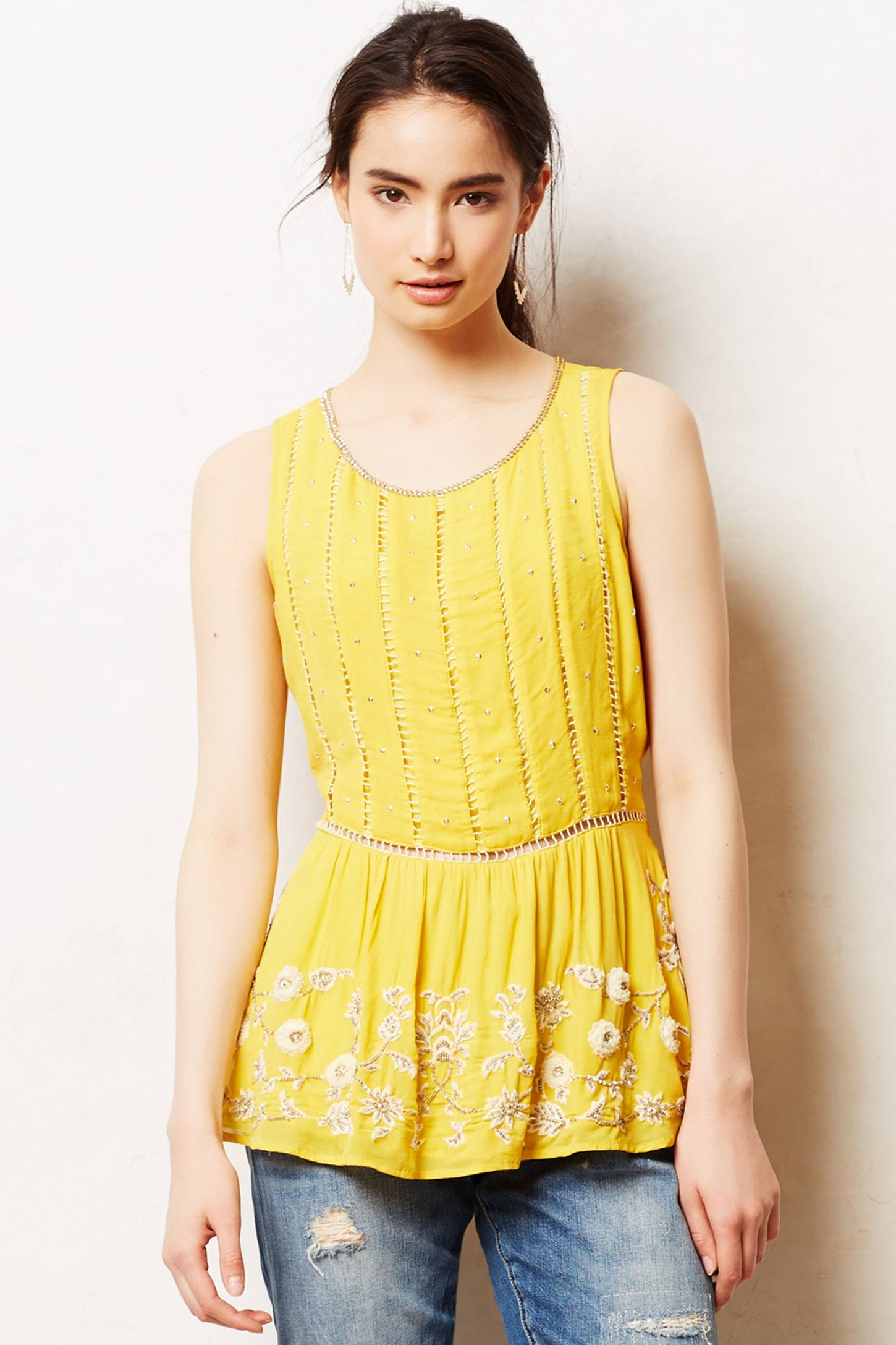 Lyst Maeve Calendula Peplum Blouse In Yellow