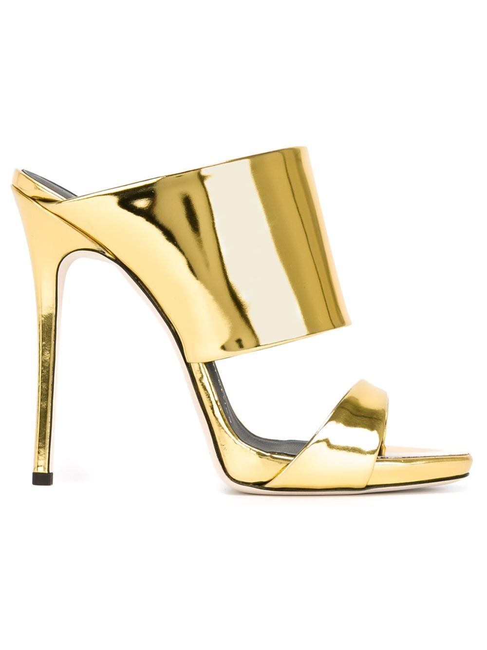 Giuseppe zanotti Patent-Leather Metallic Mules in Gold ...