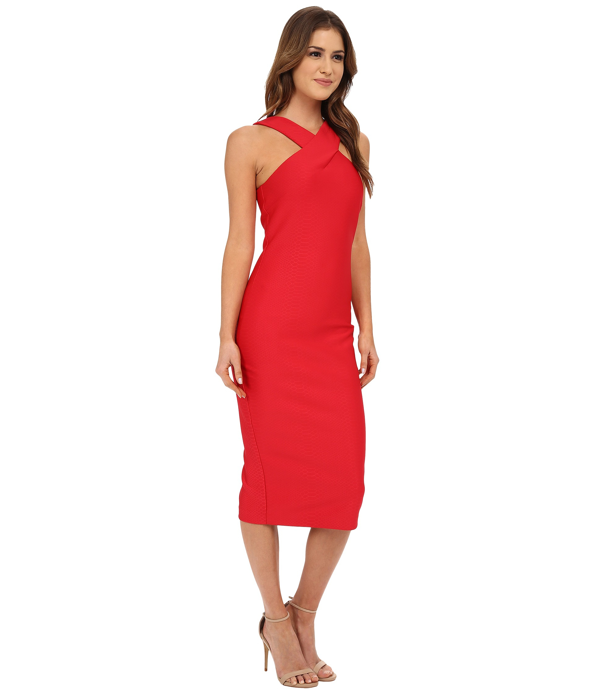 d40de21855900 Lyst - Ted Baker Erskine Snake Jacquard Midi Dress in Red