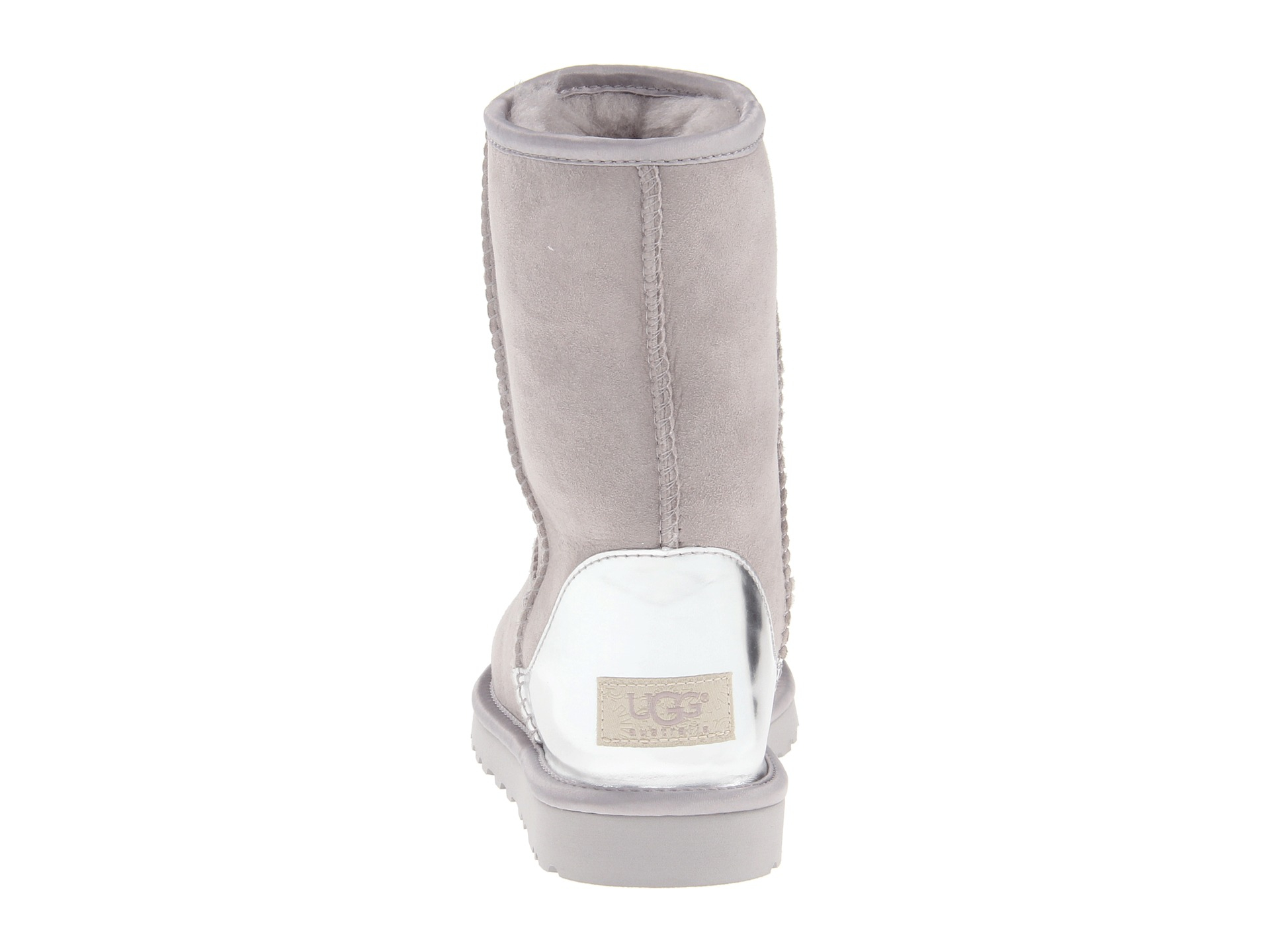 ... lyst ugg classic short metallic patent in gray