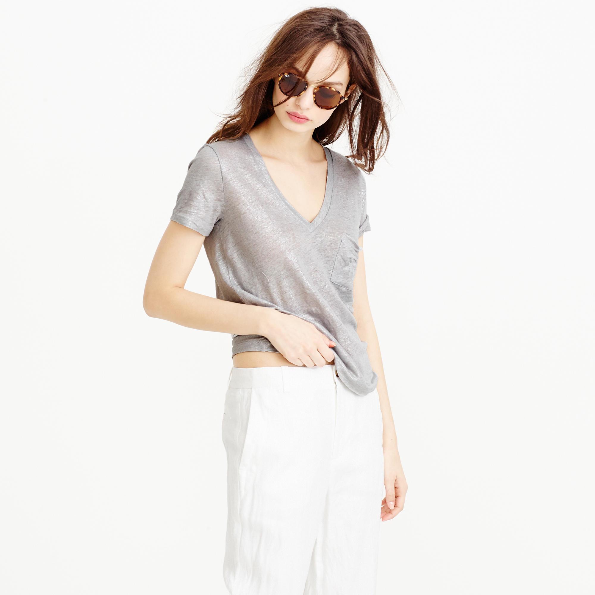 Linen V Neck Pocket T Shirt In Metallic In Silver