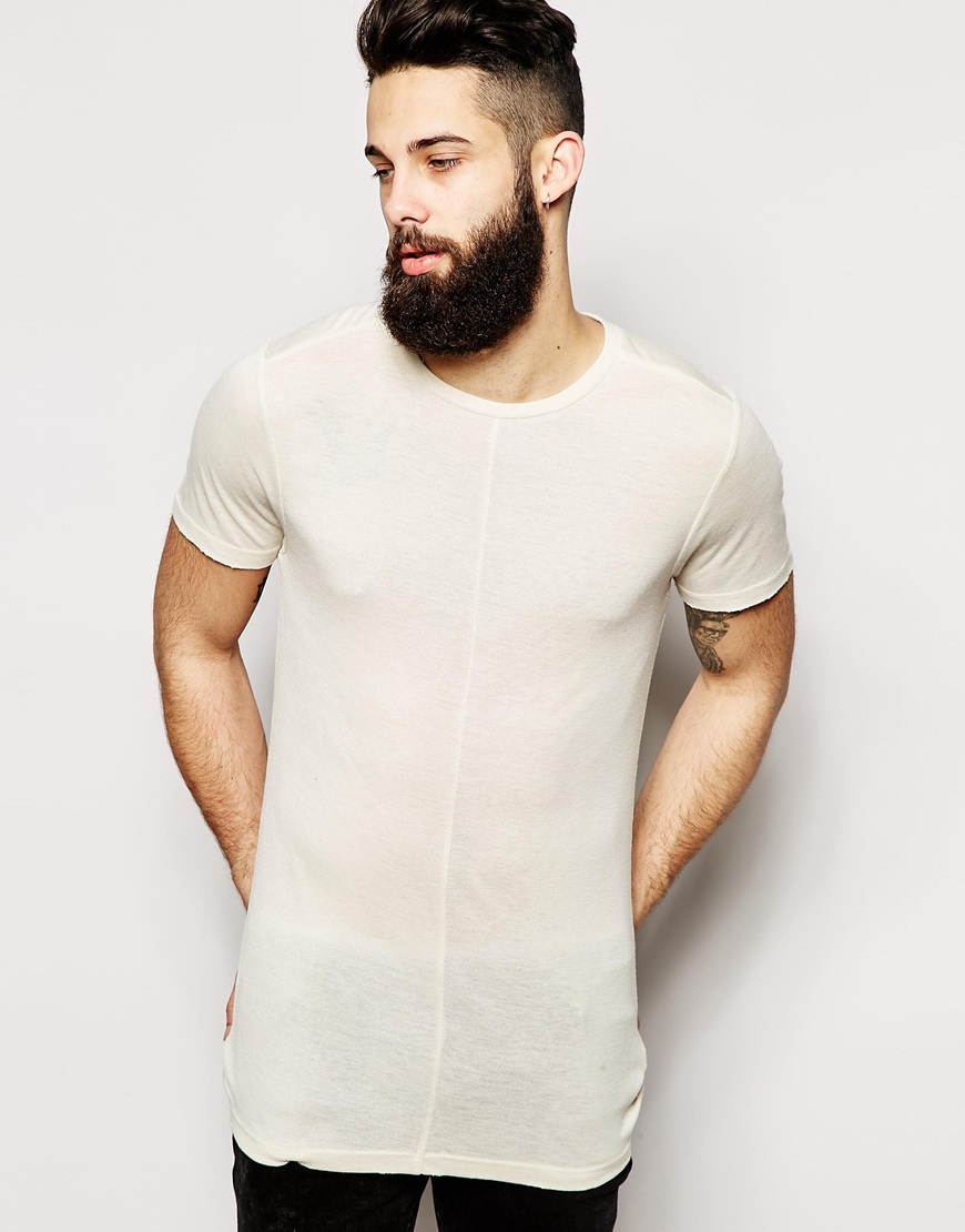Lyst Asos Fitted Fit Longline T Shirt With Crew Neck And