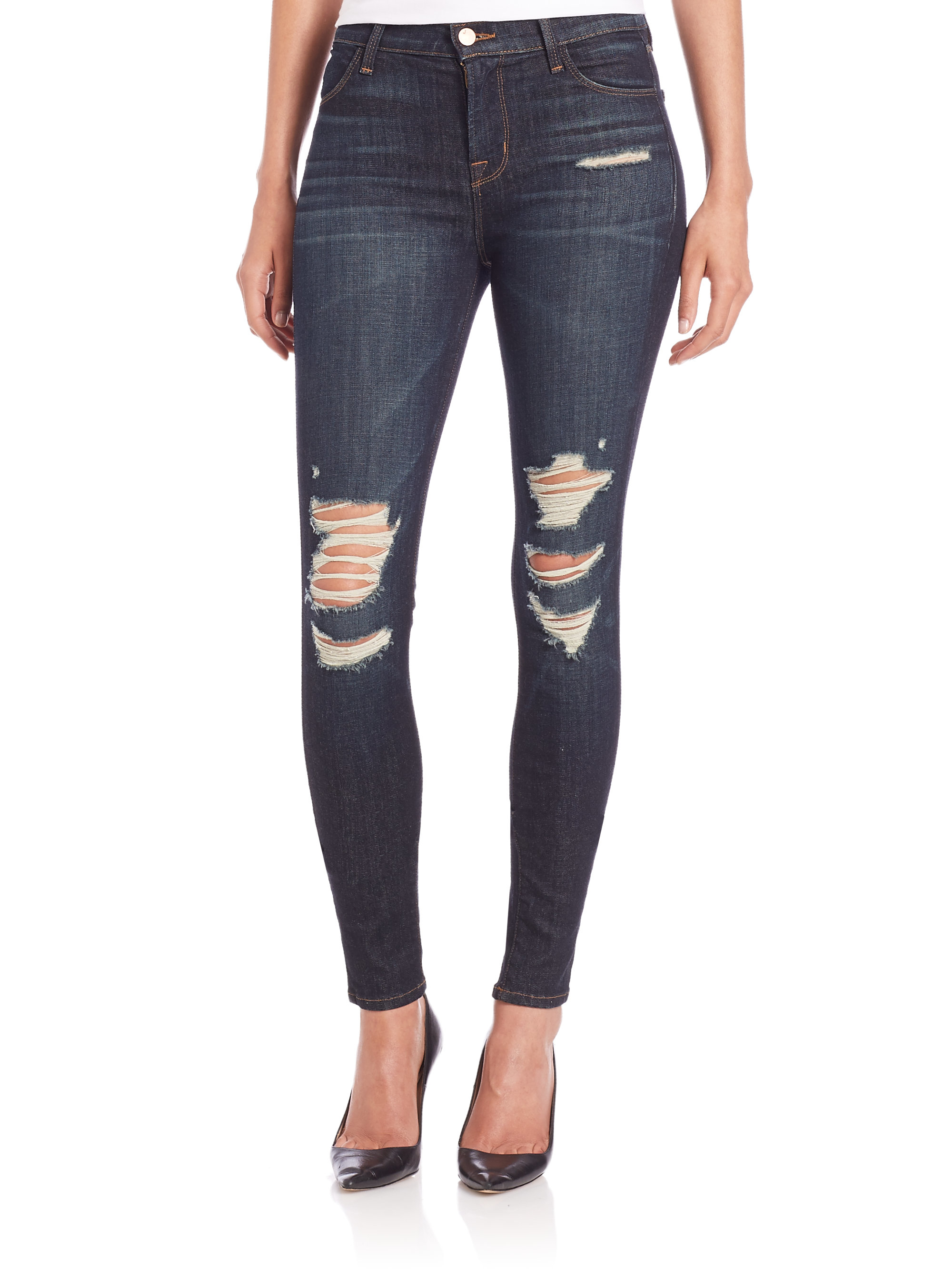 J brand Maria High-rise Distressed Skinny Jeans in Blue   Lyst