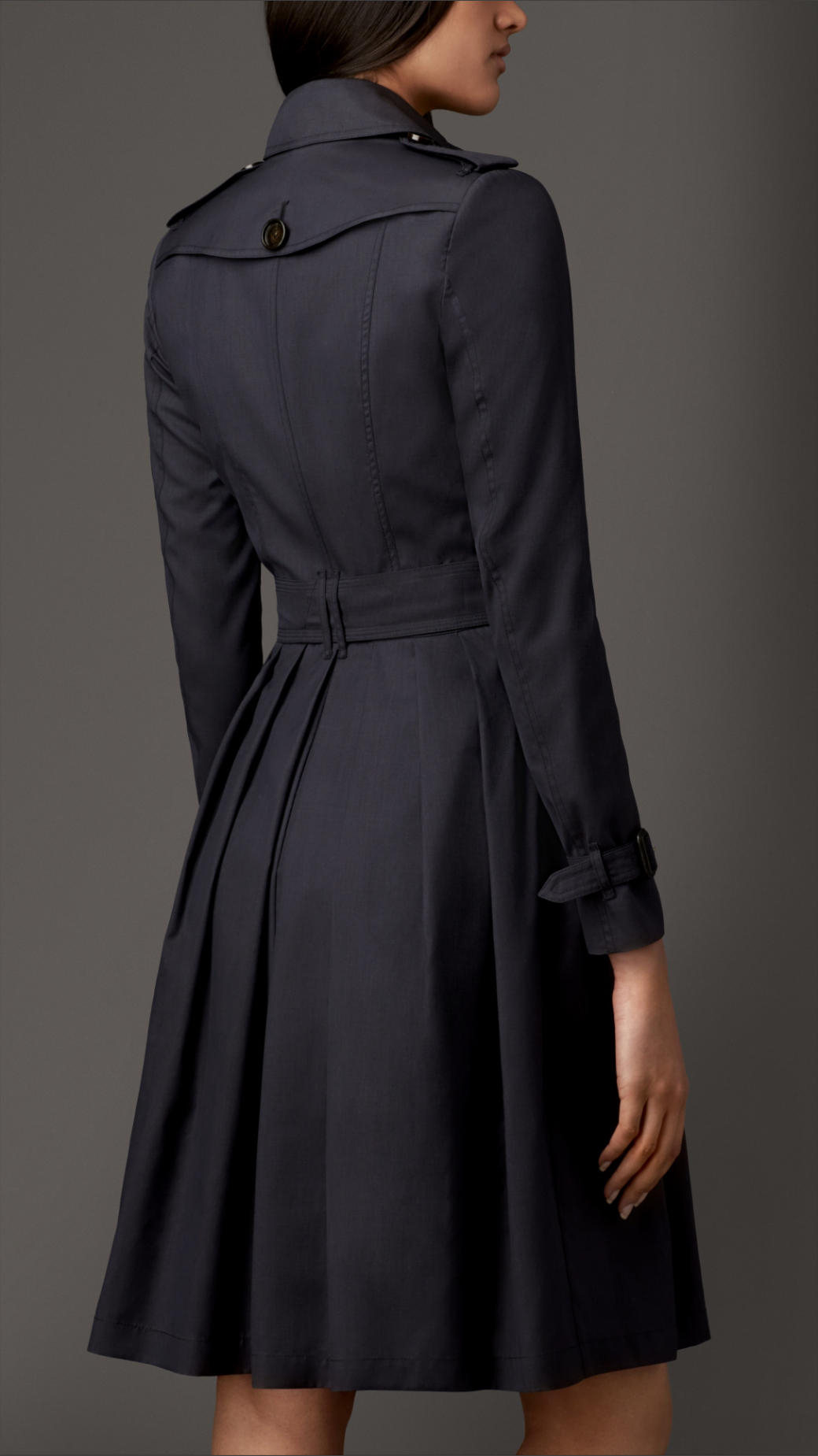 lyst burberry long full skirted wool silk trench coat in blue. Black Bedroom Furniture Sets. Home Design Ideas