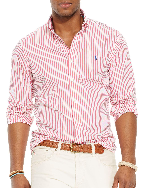 e79b248bda1222 Ralph Lauren Polo Bengal Striped Poplin Button Down Shirt in Red for ...