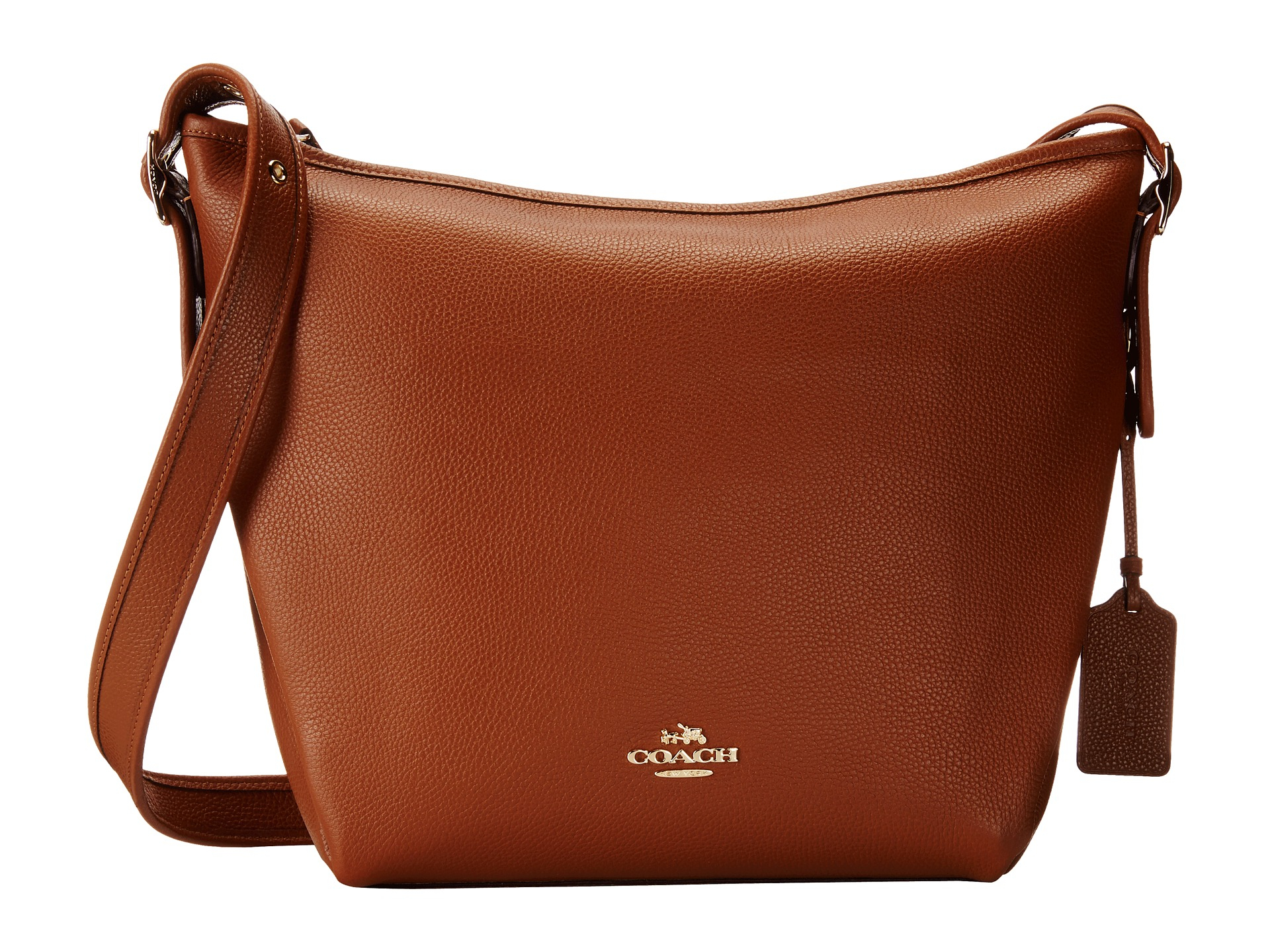 34c56132e298 Lyst - COACH Polished Pebble Leather Dufflette in Brown