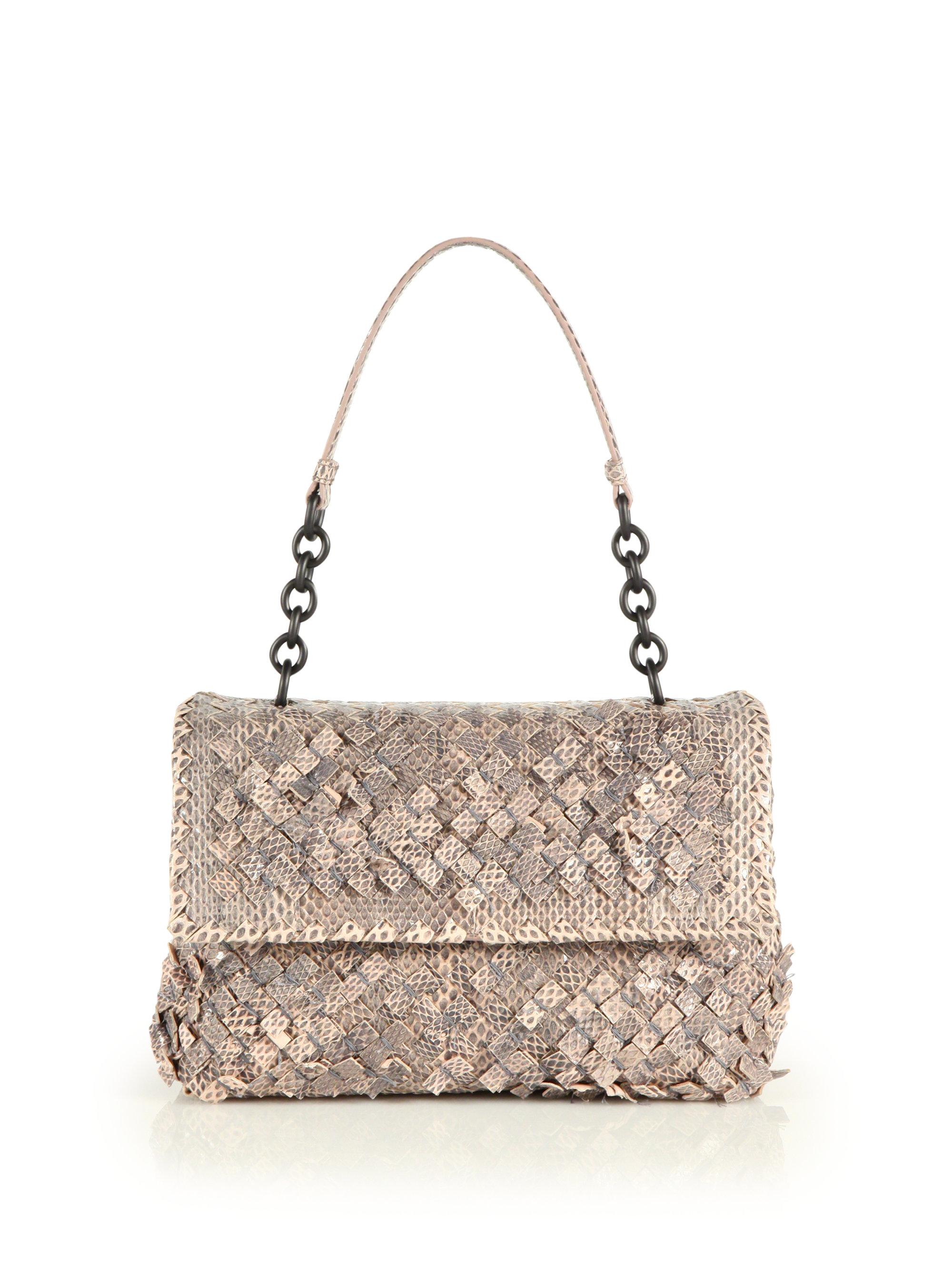 prada discount bags - Bottega veneta Olimpia Intrecciato Snakeskin Top-handle Bag in ...