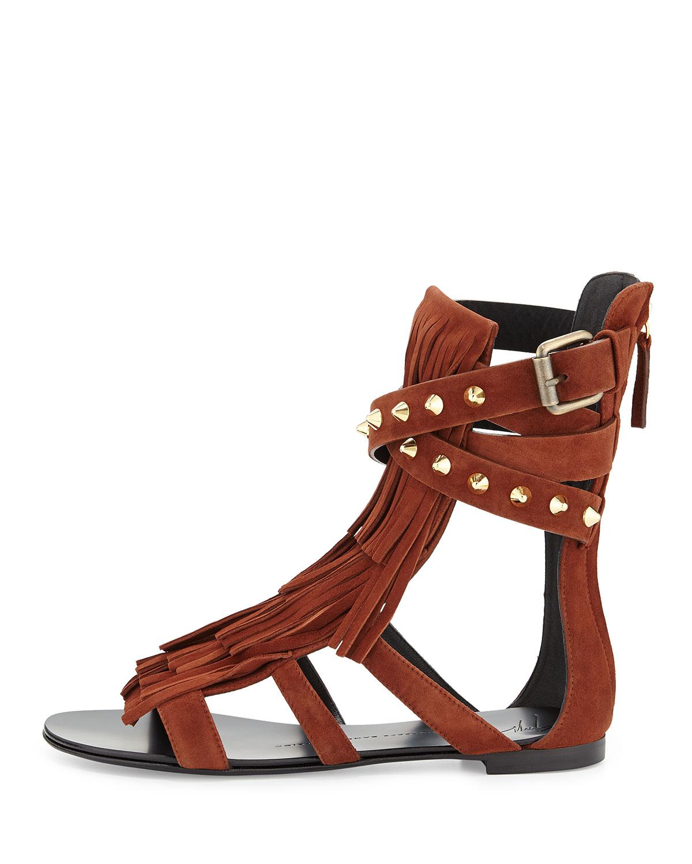 9c0f200c6fde7 Giuseppe Zanotti Suede Fringe Flat Sandal in Brown - Lyst