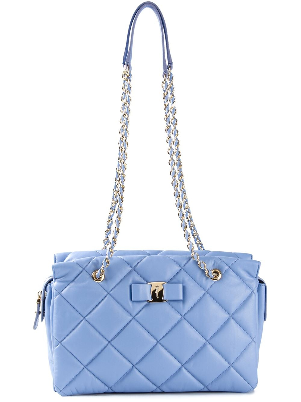 799de6f494 Lyst - Ferragamo Ginette Quilted-Leather Shoulder Bag in Blue