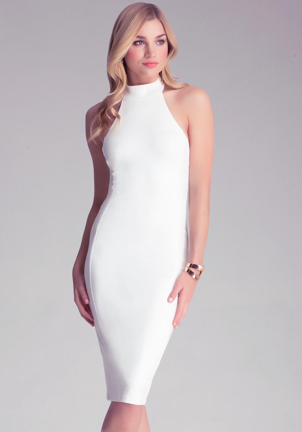 White mock neck dress.