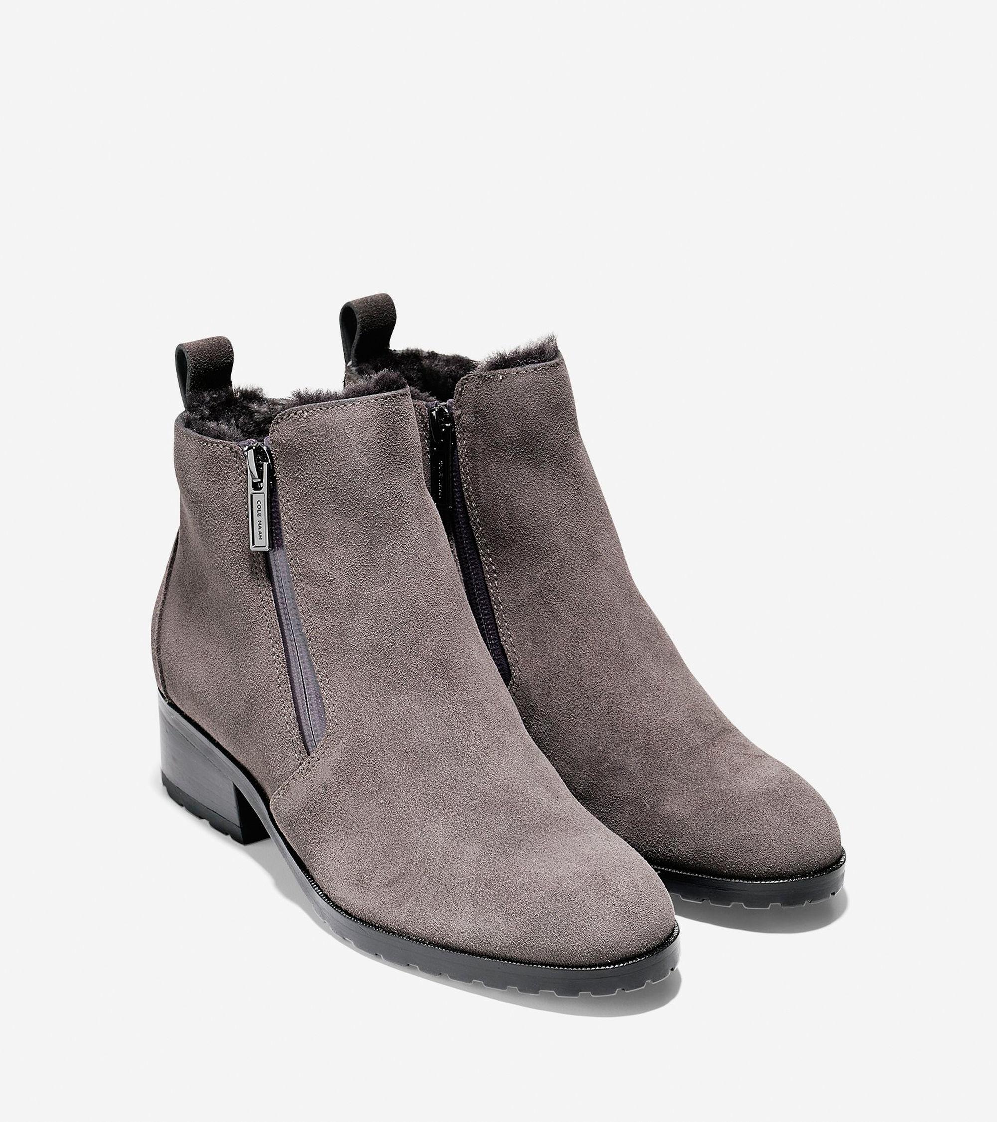 Womens Boots Cole Haan Oak Waterproof Shearling Bootie Stormcloud Suede/Shearling