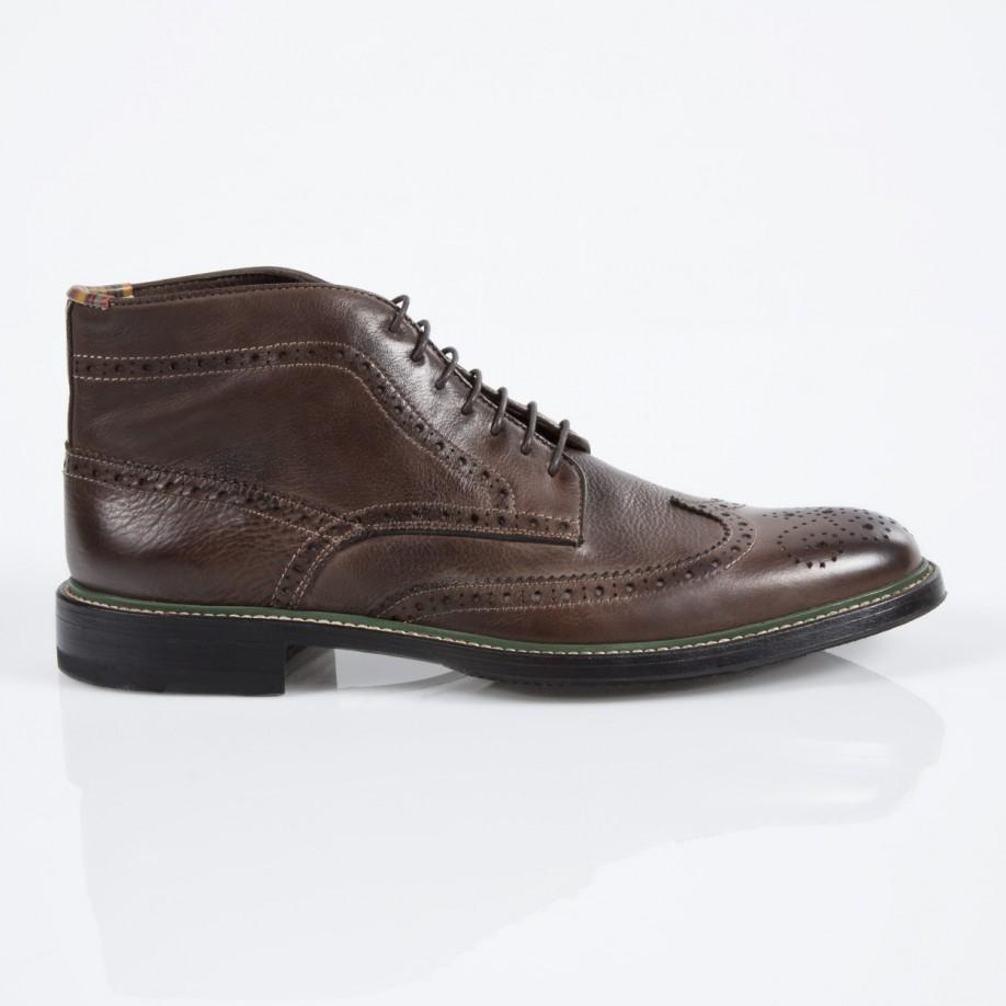 Paul Smith Dip Dyed Brown Leather Grayson Brogue Boots In