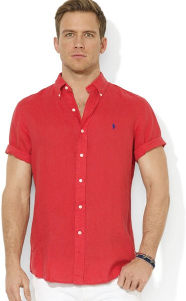 Ralph lauren polo button down short sleeve sport shirt in for Button up collared sport shirts