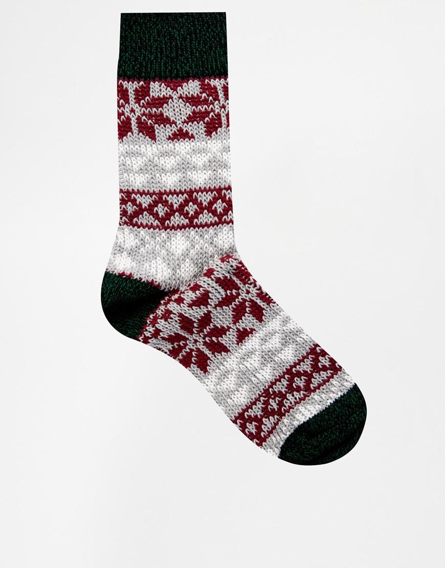 Asos Christmas Boot Socks with Snowflake Fairisle in Gray for Men ...