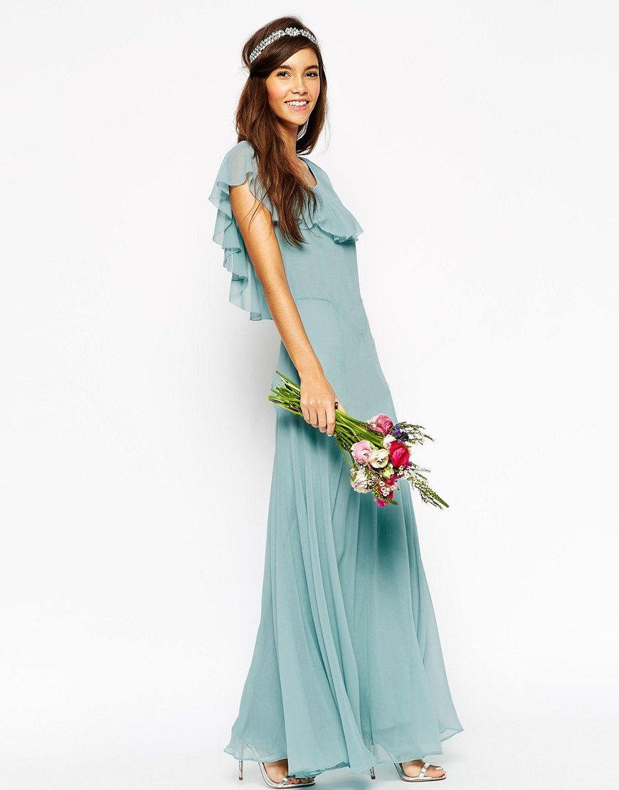 Lyst - Asos Wedding Maxi Dress With Soft Frill And Seam Detail in Blue
