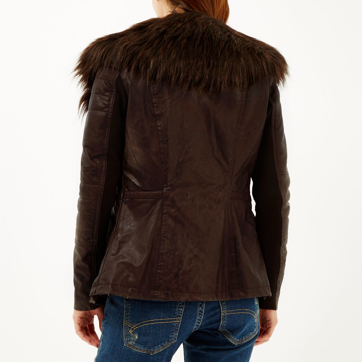 River island Dark Brown Leather-look Biker Jacket in Brown | Lyst