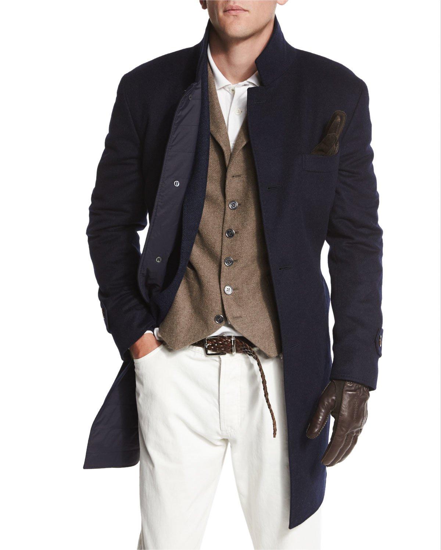 Brunello cucinelli Button-down Wool Car Coat in Blue for Men   Lyst