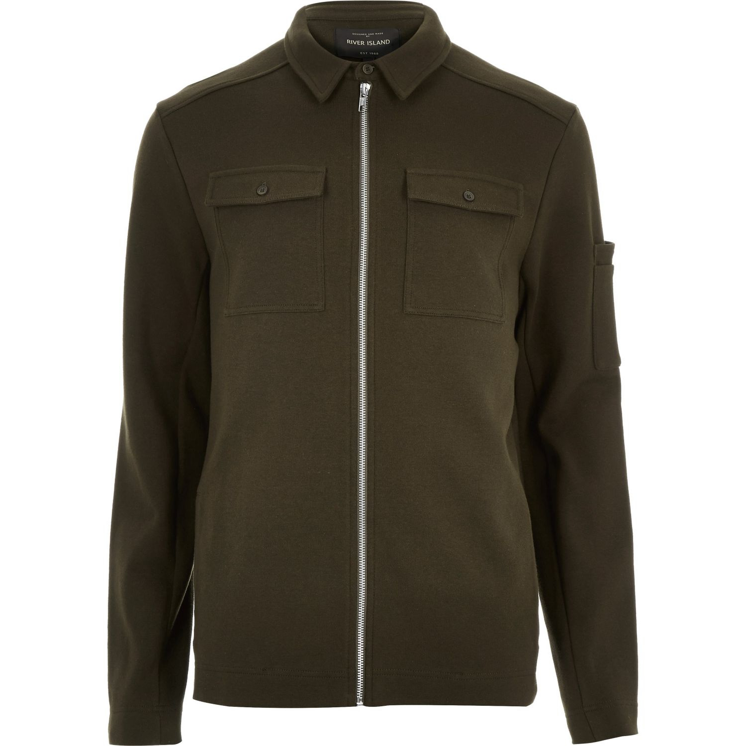River island Khaki Green Shirt Jacket in Green for Men | Lyst