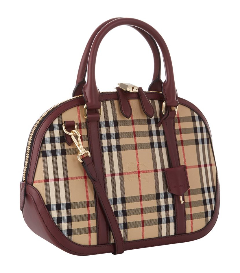 eabe37c19413 Burberry Small Orchard Horseferry Check Bowling Bag in Brown - Lyst