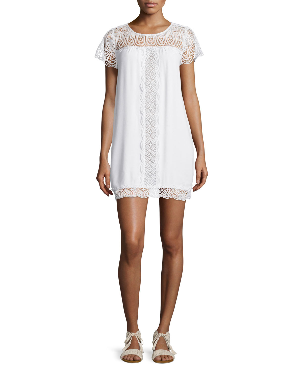 Joie kastra embroidered lace dress in white lyst