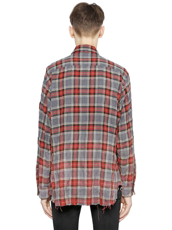 Saint Laurent Gradient Bleached Plaid Cotton Shirt In Gray