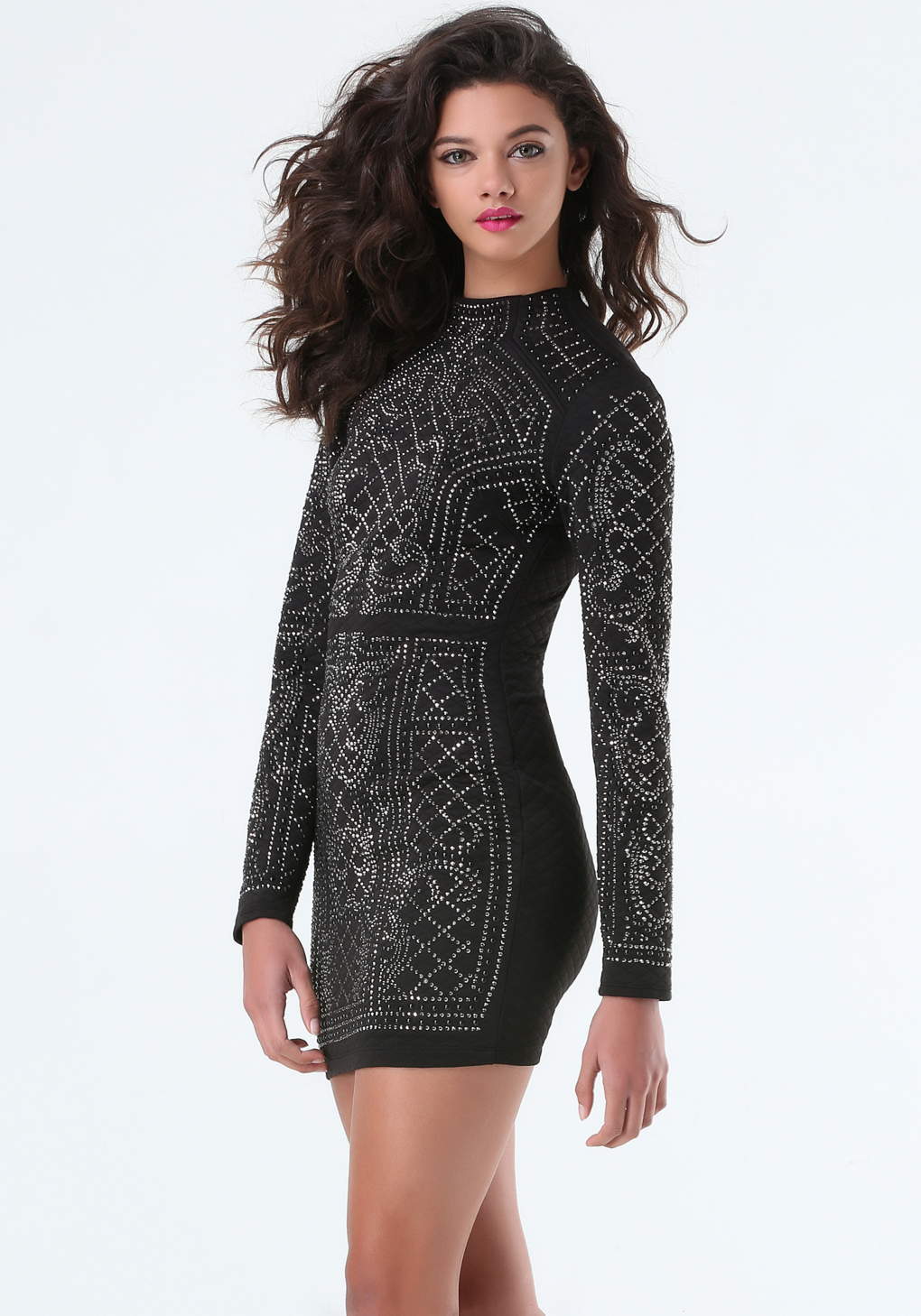 bebe iridescent quilted dress in black lyst
