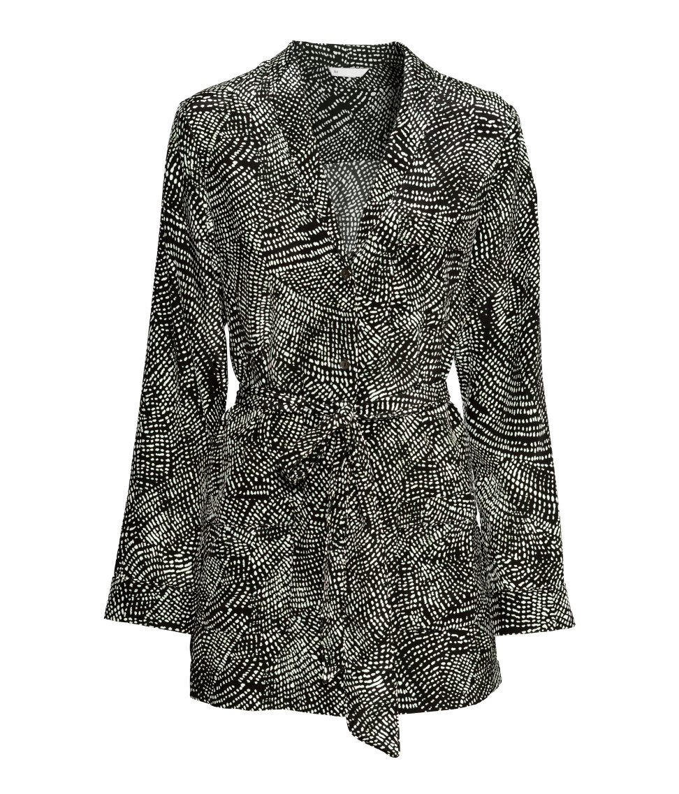 H&M Patterned Silk Blouse In Black