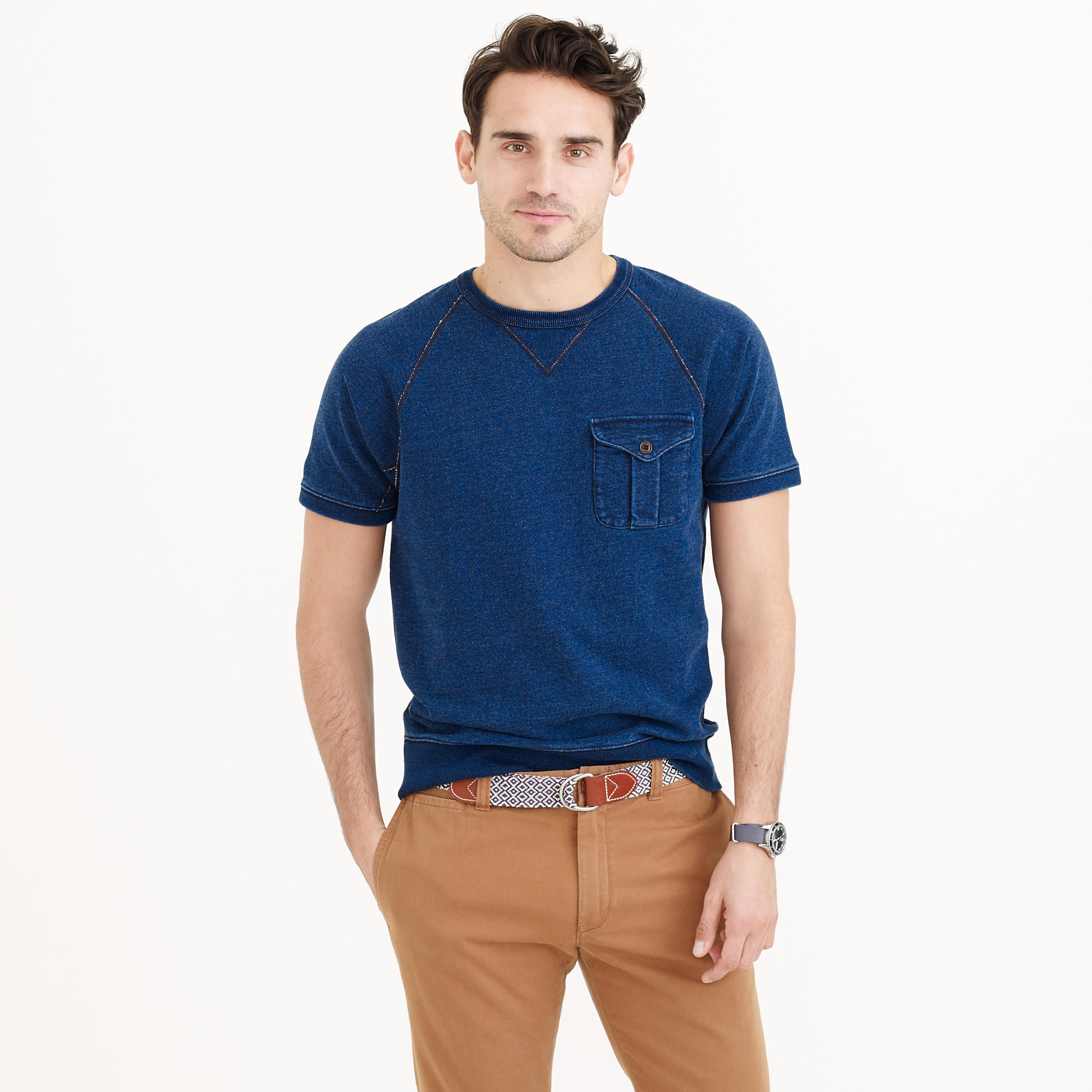 J.crew Wallace & Barnes Short-sleeve Indigo Sweatshirt in Blue for ...