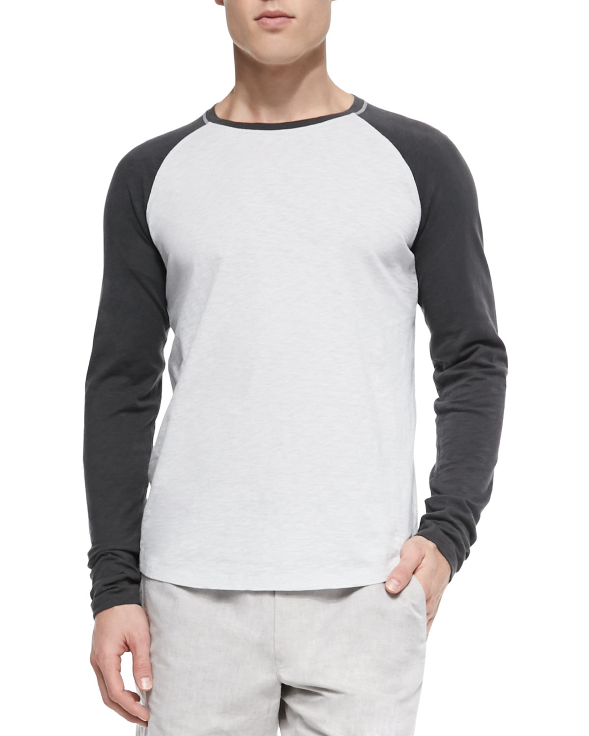 a5c9ee0eb Vince Slub Long-Sleeve Baseball T-Shirt in Black for Men - Lyst