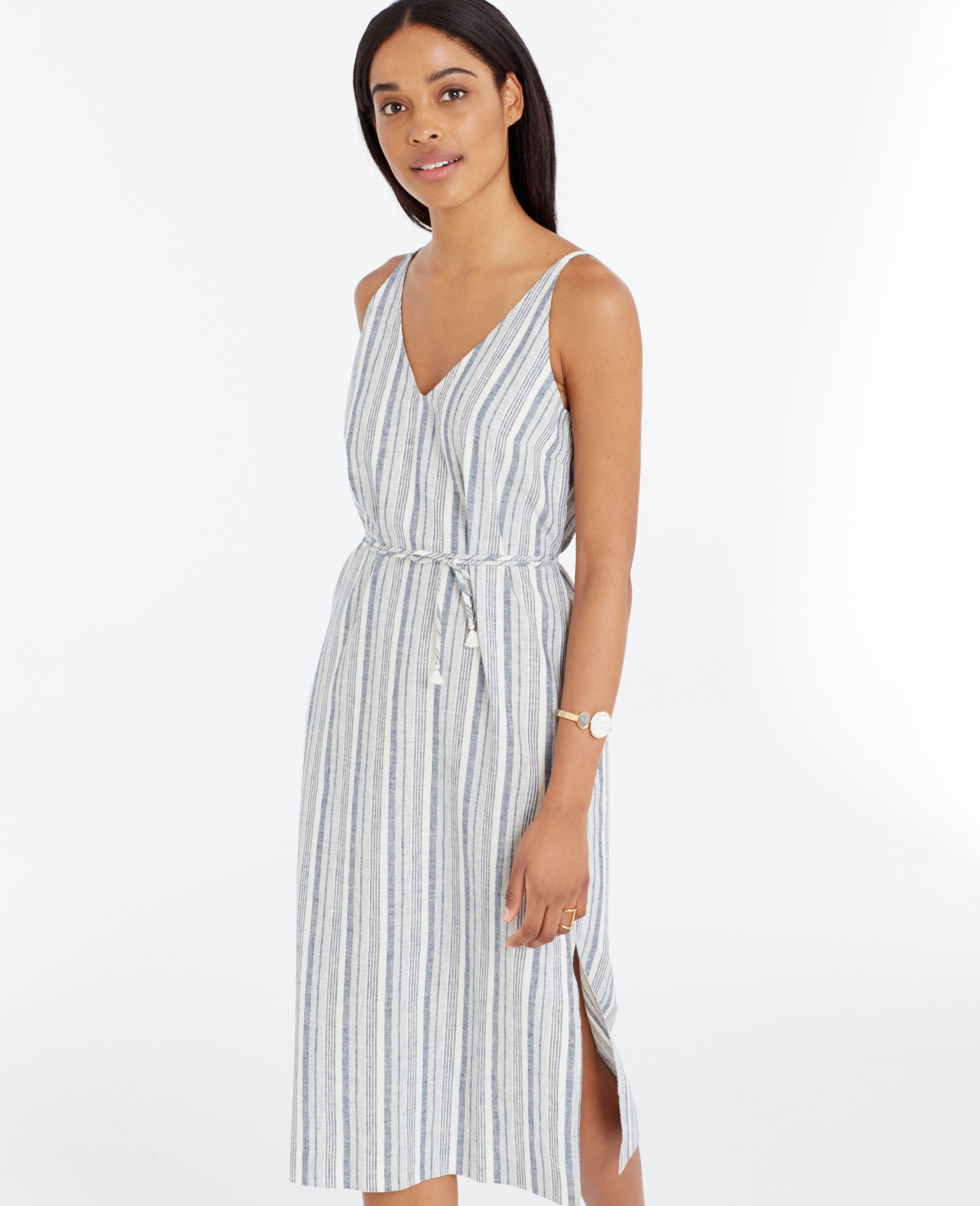 c1daf5547 Ann Taylor Petite Striped Linen Cotton Midi Dress in Blue - Lyst