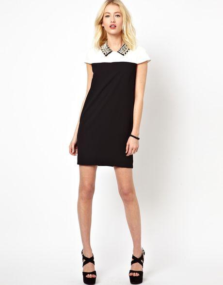 Beloved Shift Dress with Embellished Collar in Black
