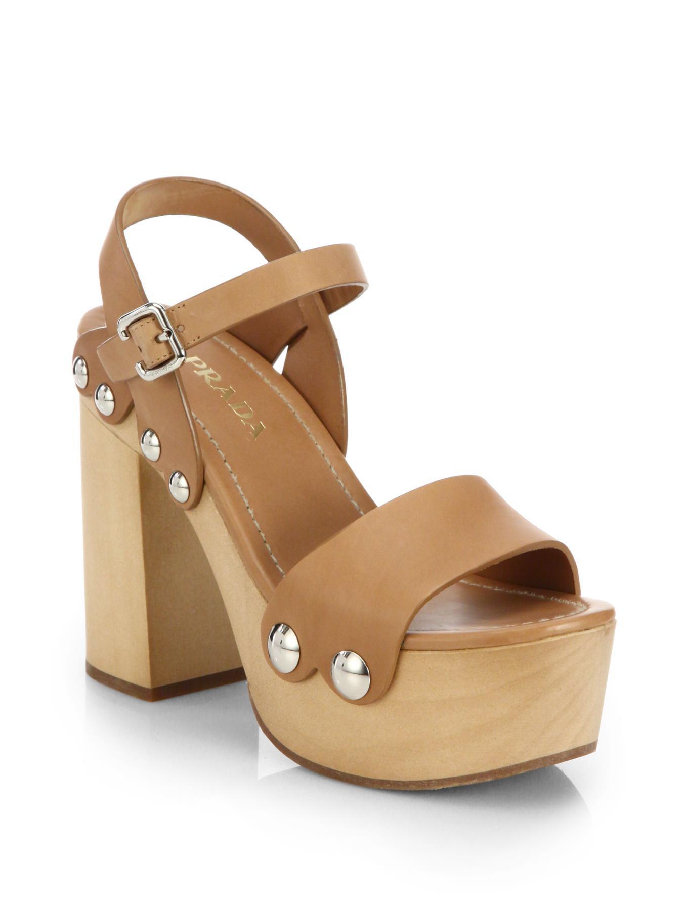 020910cadb9 Lyst - Prada Wooden-heel Leather Platform Sandals in Brown