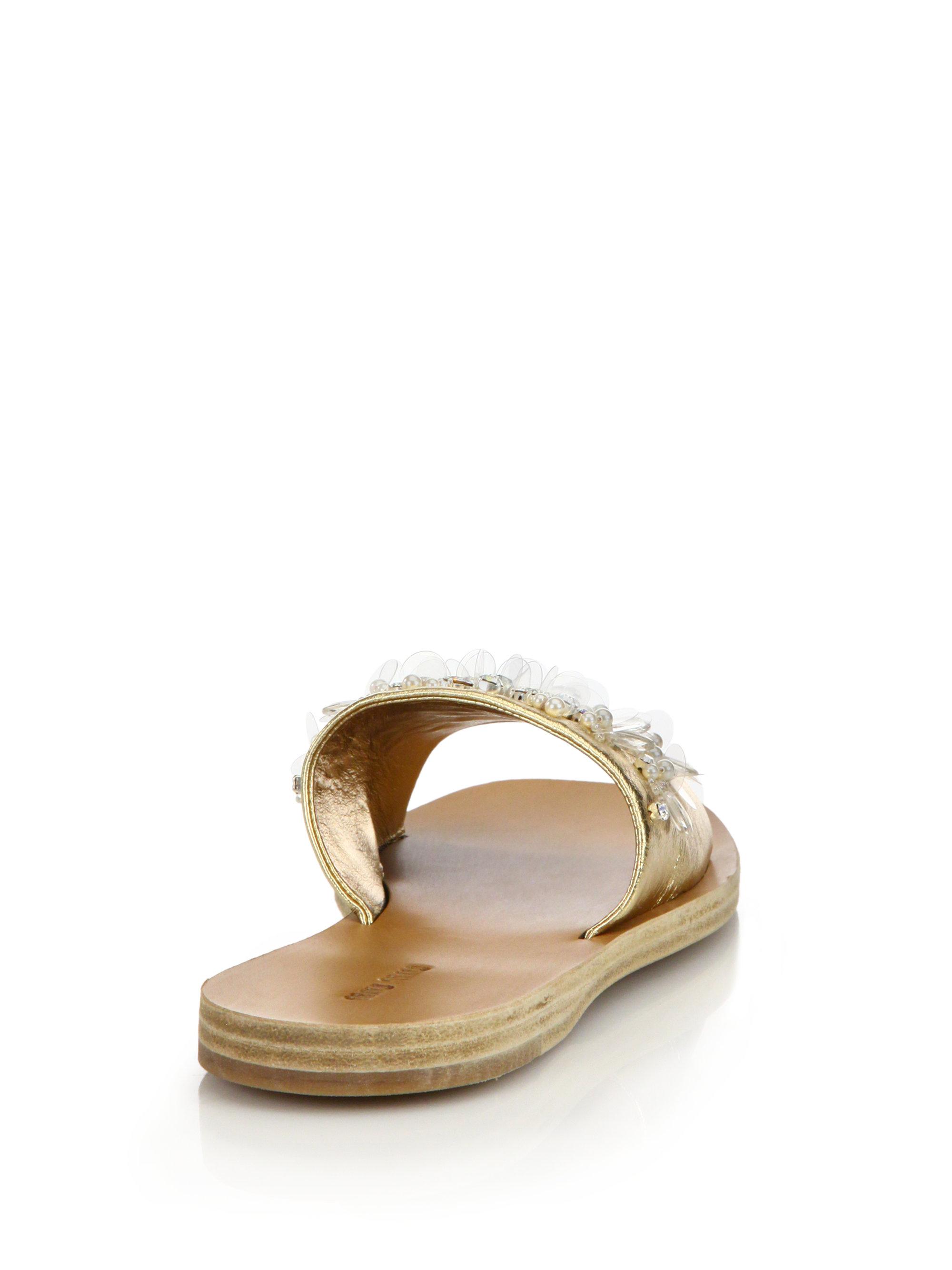 Embellished Metallic Leather Slides - Gold Miu Miu vfp4d3v
