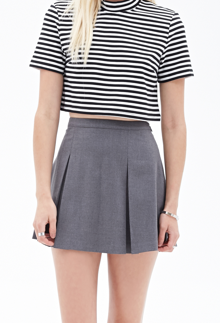 a2398b06fa62 Forever 21 Pleated Mini Skirt in Gray - Lyst