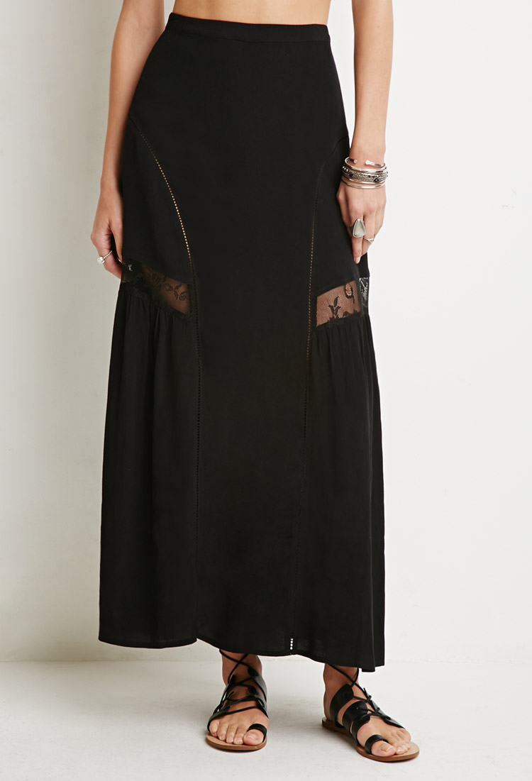 Lyst Forever 21 Floral Lace Trim Maxi Skirt In Black