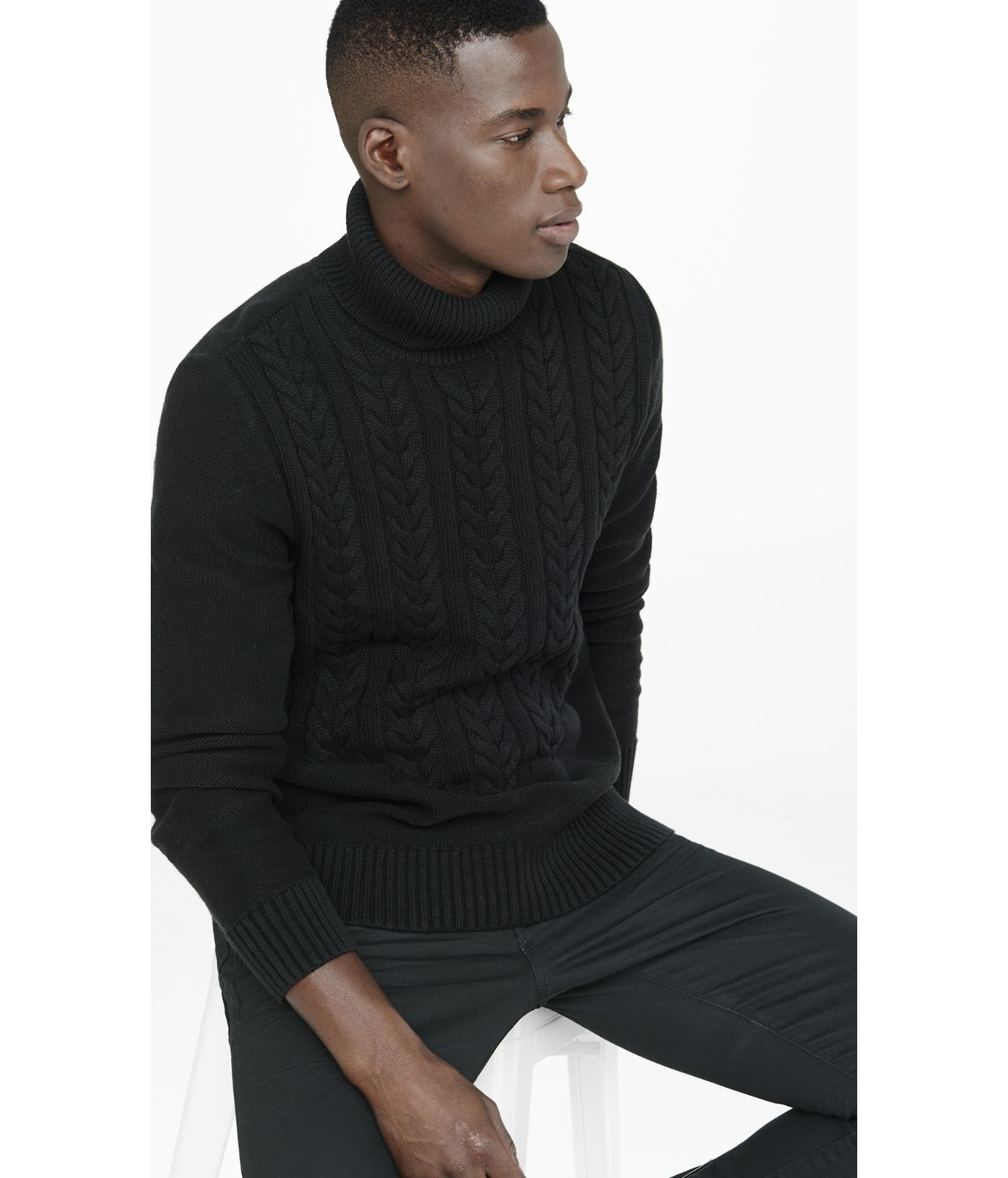 Express Cable Knit Turtleneck Sweater in Black for Men | Lyst