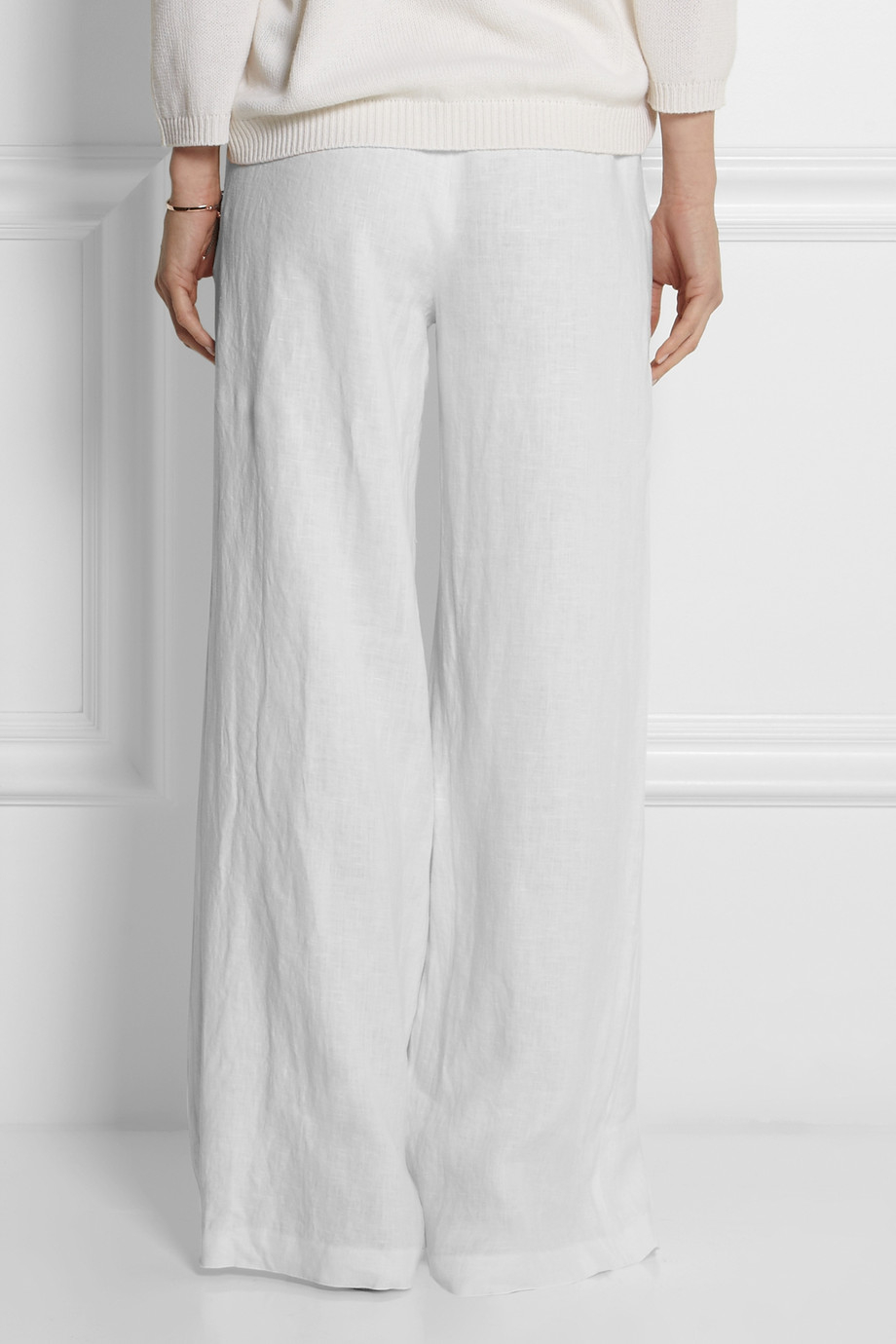 Michael michael kors Linen Wideleg Pants in White | Lyst