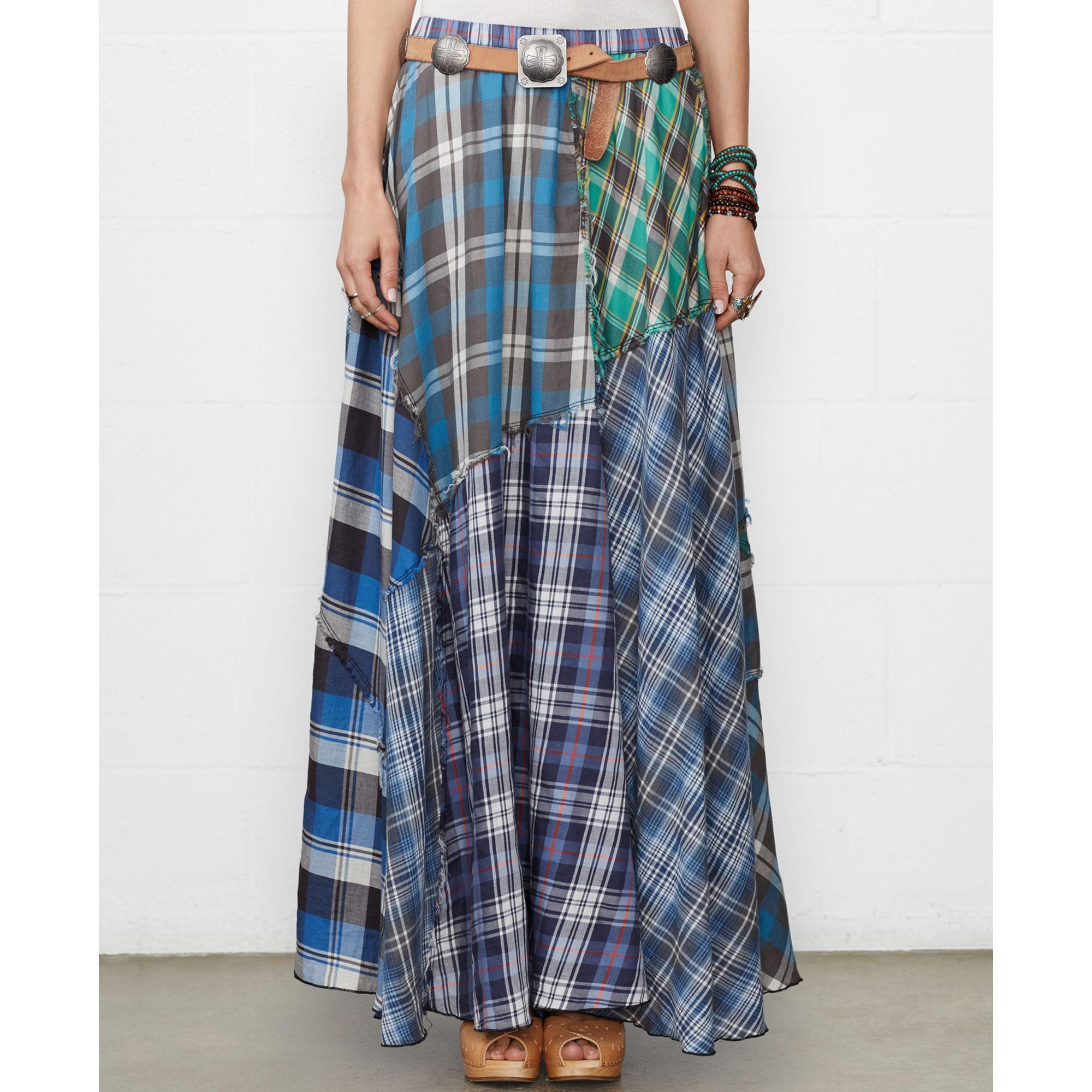 denim supply ralph patchwork plaid maxi skirt lyst