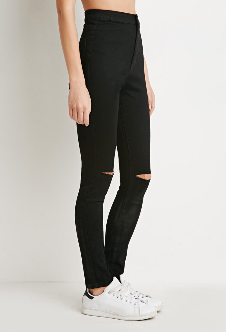 Forever 21 Ripped Super Skinny Jeans in Black | Lyst