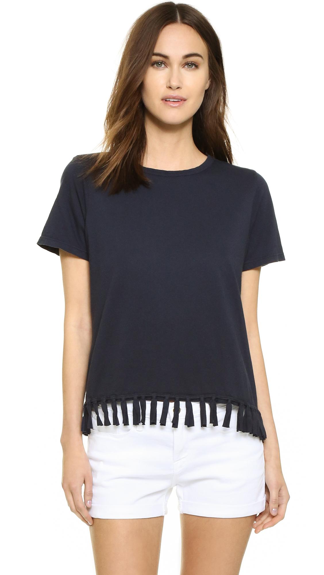 clu too fringe trimmed t shirt in blue lyst. Black Bedroom Furniture Sets. Home Design Ideas