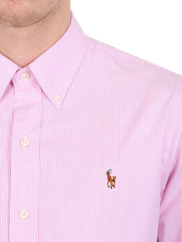 8d8d762716 Ralph Lauren Blue Label Striped Pinpoint Cotton Oxford Shirt in Pink ...