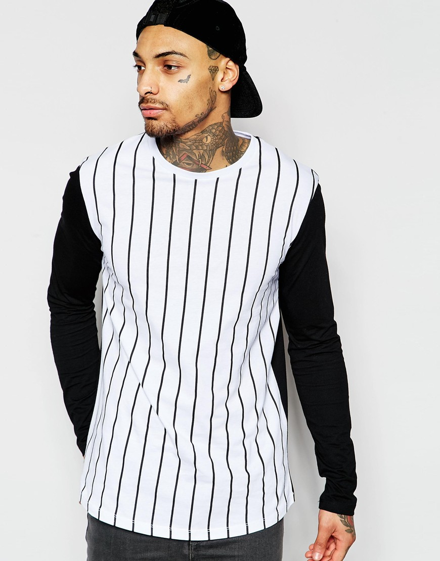 96a49f4092 ASOS Longline Long Sleeve T-shirt With Vertical Stripe And Contrast ...