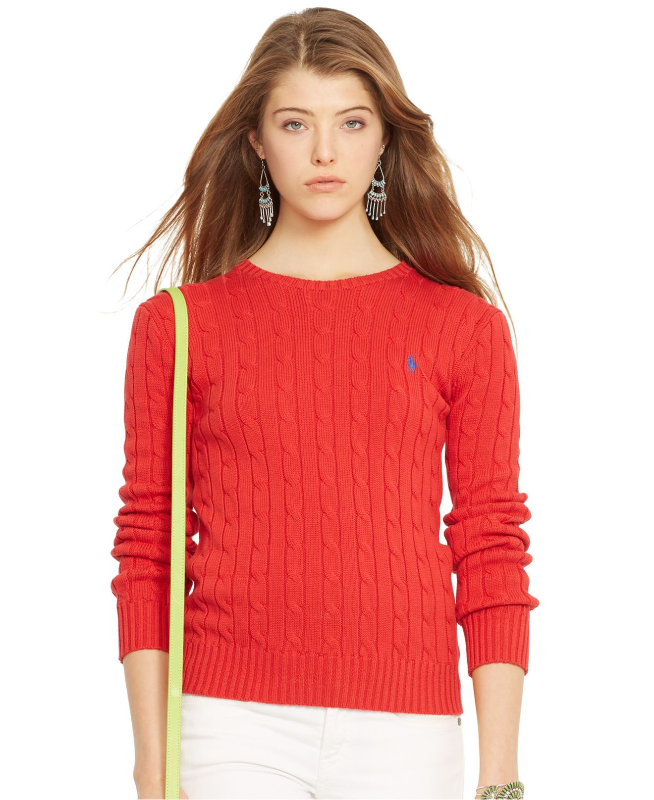 Polo ralph lauren Crew-Neck Cable-Knit Sweater in Red | Lyst