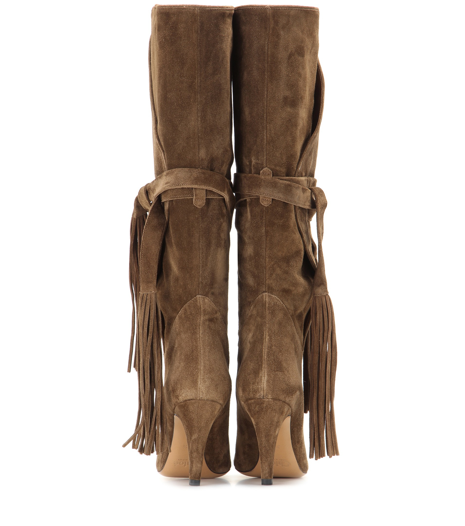 Chloé Tasseled Suede Knee-High Boots in Brown | Lyst
