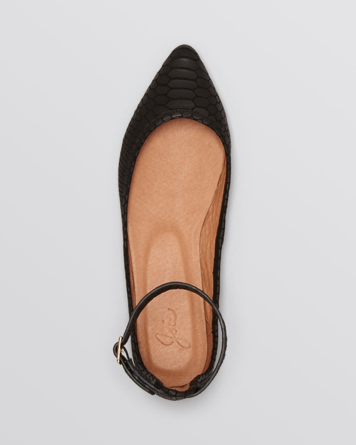 80bcecab9 Joie Pointed Toe Ankle Strap Flats Temple in Black - Lyst