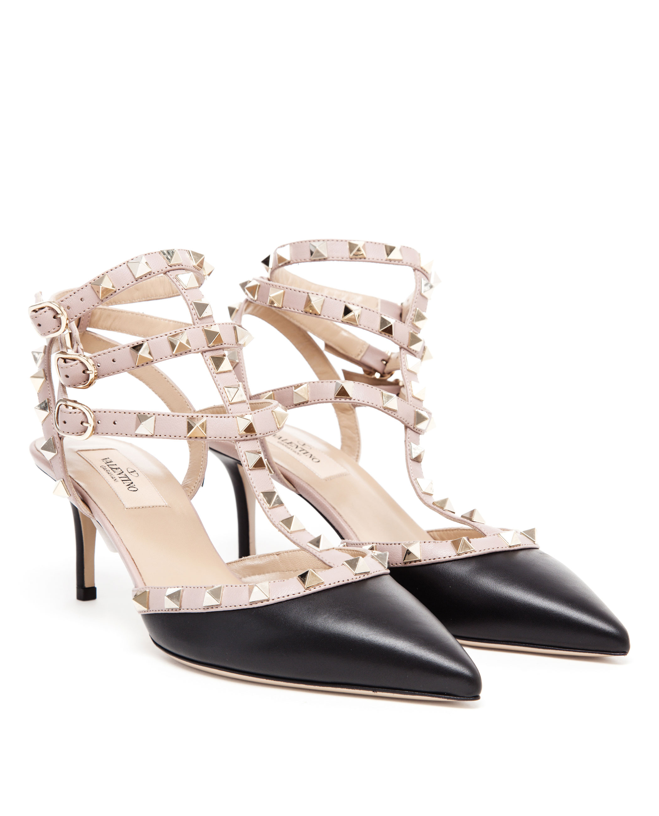 valentino rock studded leather kitten heels in black lyst. Black Bedroom Furniture Sets. Home Design Ideas
