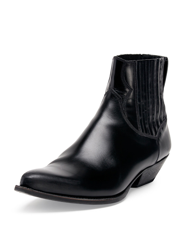 Saint laurent Low Cowboy Boot in Black for Men | Lyst